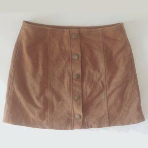 Brown Suede-Like Skirt